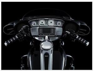 Kuryakyn Tri-Line Fuel /& Voltage Gauge Dash Bezels /'15-/'16 Harley Road Gli Black