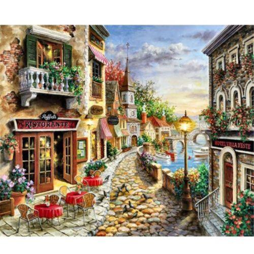 New 5D Diamond Painting Full Drill Diamond Rhinestones the Seaside town