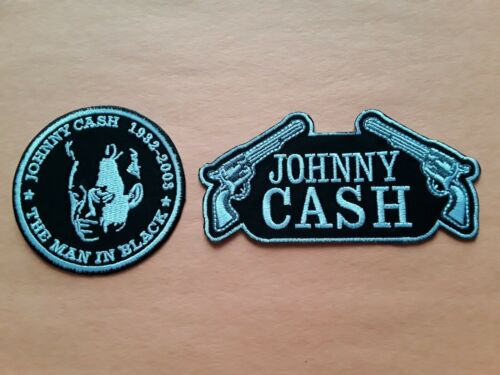 a TWO JOHNNY CASH PATCHES SEW IRON ON CLASSIC ROCK MUSIC