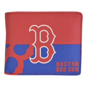 MLB-Boston-Red-Sox-Men-039-s-Printed-Logo-Leather-Bi-Fold-Wallet