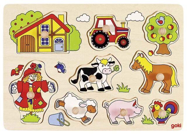 Steckpuzzle Setzpuzzle Tierkinder aus Holz Motorik Feinmotorik NEU!