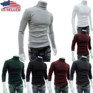 2019-Fashion-Men-Slim-Warm-High-Neck-Jumper-Top-Turtleneck-Solid-Autumn-Pullover