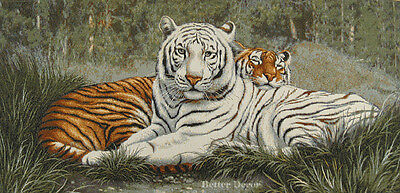 "38"" WALL JACQ. WOVEN TAPESTRY Bengal Tigers WILD LIFE ANIMAL - EUROPEAN PICTURE"