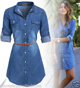 NEW Womens Longline Denim Shirt Dress Ladies Jean Dresses ...