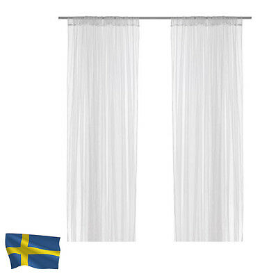 4 PAIRS OF IKEA LILL SHEER LACE CURTAINS BLINDS WHITE NEW 280cm x 250cm DROP