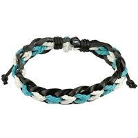 Black Leather Bracelet With 2 Colored Braided Strings Center One Size Fits Most