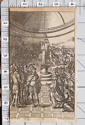 1709 Virgil Aeneid Estampado Vander Gucht Estatua Con Romano Soldados & Mujer Refrescante Y Beneficioso Para Los Ojos