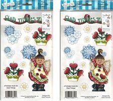 LOT of 2 Rub On Transfers Glitter Christmas Card Making ~ GLAD TIDINGS