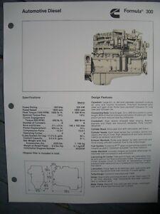 Details about 1982? Cummins Automotive Diesel Formula 300 Engine Specs Flyer