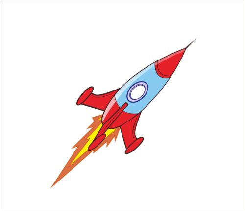 Rocket Space Rocket Cartoon Sticker Decal Graphic Vinyl Car Bumper Laptop Decor