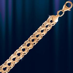 Rose Rotgold 585 Bismark light hohl Kette Armband 4,6 mm DIAMANTIERT Neu