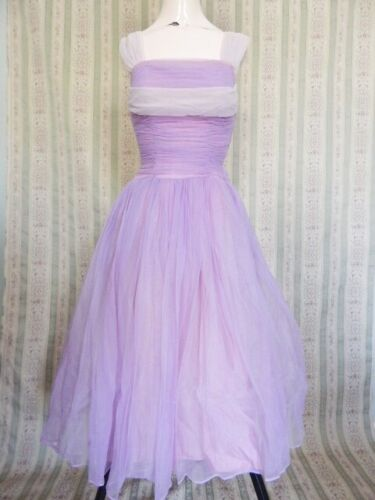 Vintage 1950s Lavender Ruched Tulle 50s Prom Party