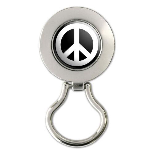 Peace Sign White On Black Magnetic Metal Eyeglass Badge Holder
