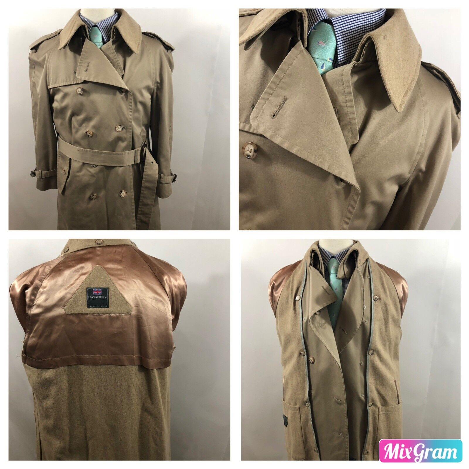 JG Chappel Men's Tan Winter Trench Coat Lined Single Vent Wool Blend Sz 40 S P7