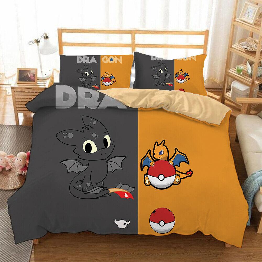 Latest Design Film Dragon Toothless Anime Duvet Set Quilt Cover with Pillowcase