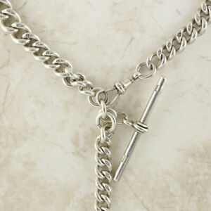 Victorian-925-sterling-silver-Albert-chain-T-Bar-and-Fob