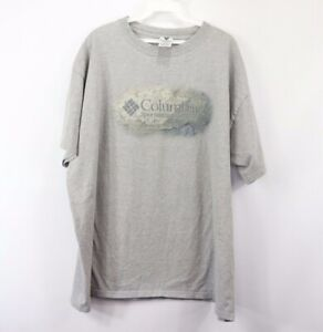 Vtg-90s-Columbia-Mens-2XL-Streetwear-Spell-Out-Short-Sleeve-T-Shirt-Heather-Gray
