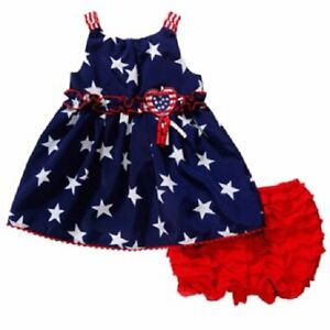 c9266ad956a Youngland Baby USA Stars Blue Dress   Red Bloomers Outfit Baby Girl ...