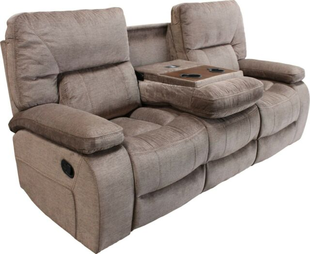 Chapman Kona Contemporary Reclining Sofa with Console and Pillow Top Arms  Brown