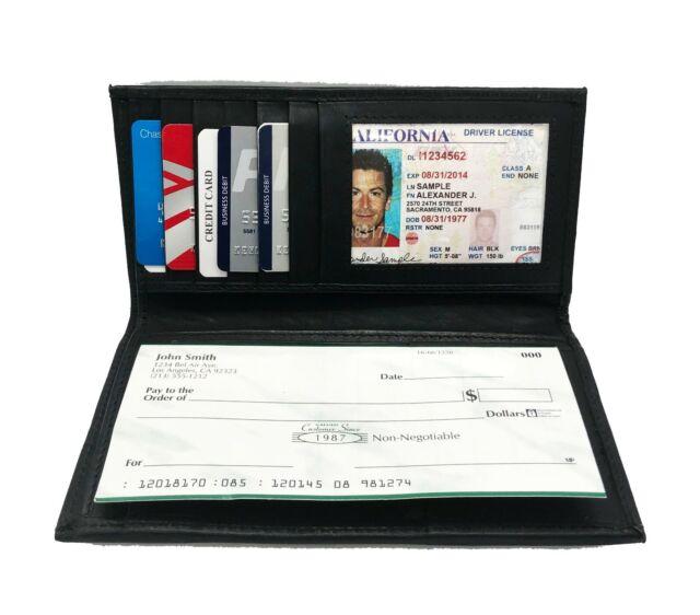 Le/'aokuu Mens Genuine Leather Bifold Wallet Organizer Checkbook Iron Chain 1088
