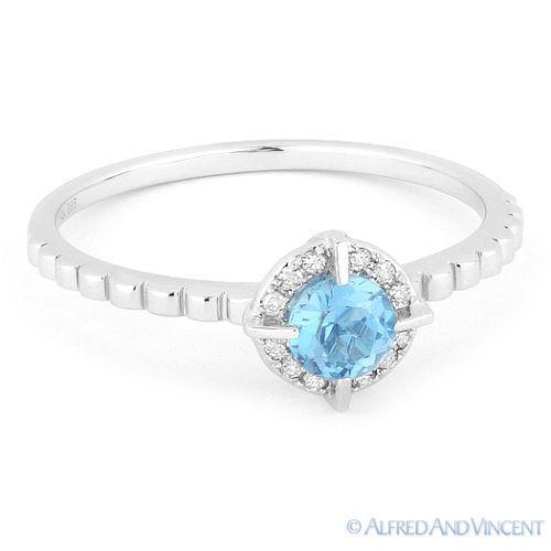 0.32ct Round Cut blueee Topaz Gemstone & Diamond Halo Promise Ring 14k White gold
