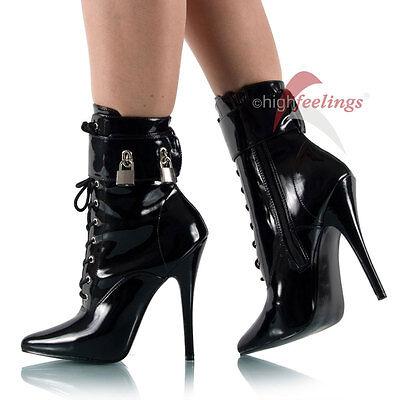 Abschließbare High Heels Stiefeletten Lack Schwarz Gr 36-47