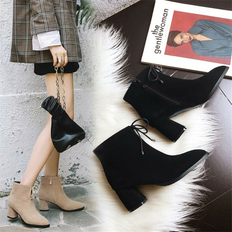 Women's Ankle Boots Pointed Toe Suede Chunky Heels Side Zip Fashion Casual shoes