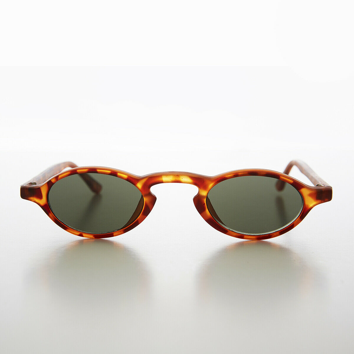 Tiny Oval Spectacle Vintage 90s Steampunk Sunglass Matte Tortoise - Hester