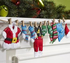 Details About Bucilla Plaid Santa S Laundry Felt Christmas Garland Kit 86683 Oop F D New