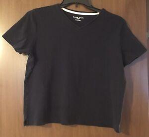 Karen-Scott-Sport-Size-L-Knit-Black-100-Cotton-Short-Sleeve-V-Neck-Top