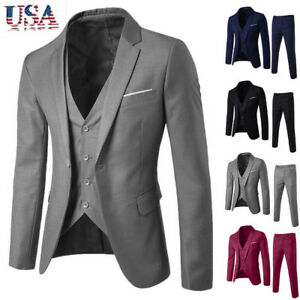 Business-Men-s-Suit-Slim-3-Piece-Suit-Blazer-Wedding-Party-Jacket-Vest-amp-Pants