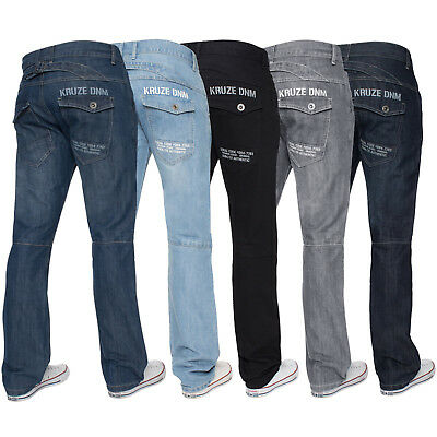 Kruze Mens Bootcut Jeans Flared Wide Leg Denim Pants Big Tall All Waist Sizes