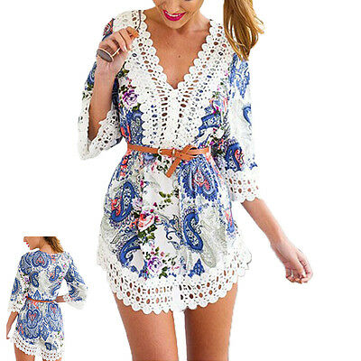 Sexy Women's Summer Sexy Lace Floral Casual Short Evening Party Mini Dress