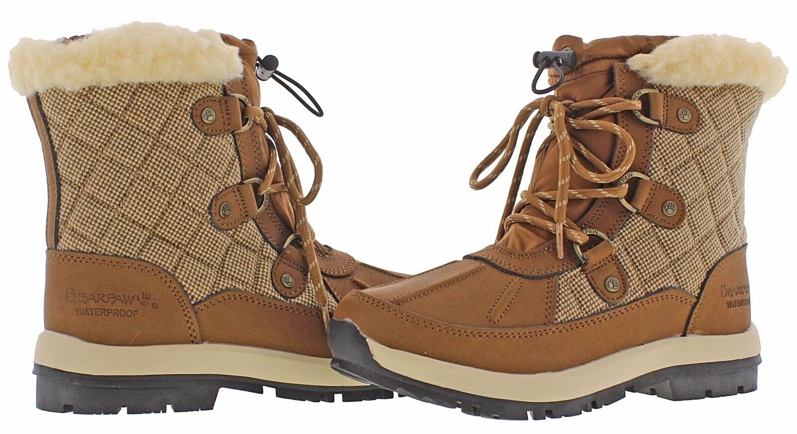 NEU  Bearpaw BETHANY  Hickory Lace Up Tweed Accent Boot    6M