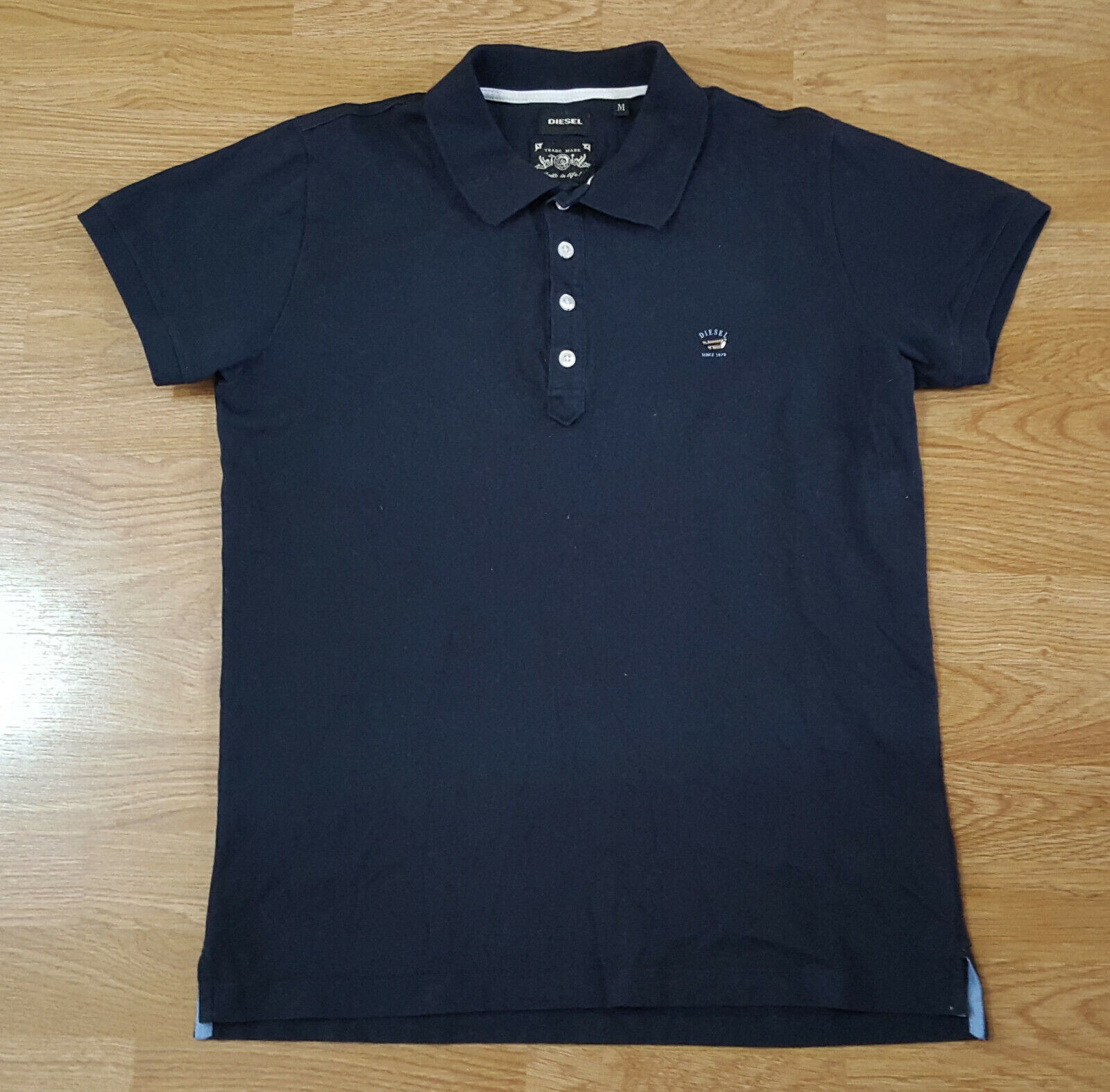 Diesel Polo T Shirt Top Short Sleeves Ladies schwarz Größe M