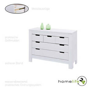 Kommode Sideboard Highboard Landhausstil Mit 5 Schubladen Weiss