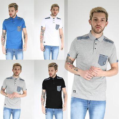 Rawcraft Mens Collared Front Pocket Short Sleeve Contrast Patch Shoulder T Shirt