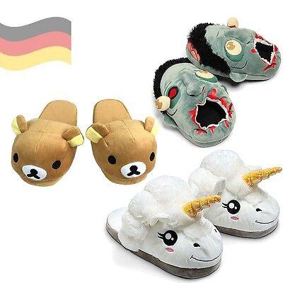Einhorn Haus-Schuhe 36-44 Slippers Pantoffeln Plüsch Flauschig Sammeln geek NEU