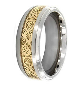 Image Is Loading Anium Gold Dragon Filigree Design Inlay Mens Wedding
