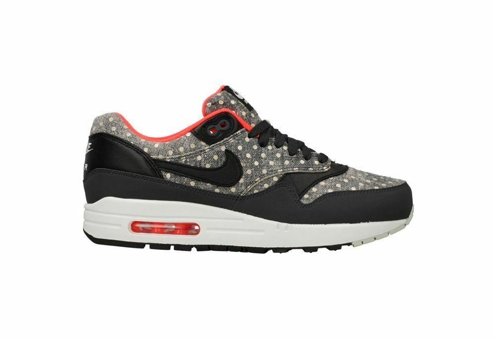 Size 12 13 Nike Men AIR MAX 1 LTR PREM 705282 002 Black Grey White Neon Red Dots