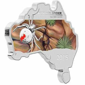 Australia-MAP-SHAPED-COIN-SERIES-2015-Redback-Spider-1-OZ-SILVER-proof-COIN