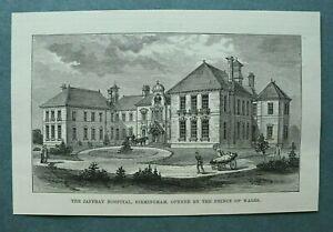 L1e) Holzstich Birmingham 1885 Jaffray Hospital Architektur Krankenwagen 17x11cm