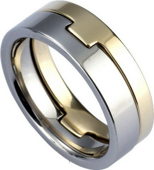 MEN'S 8mm Wide Tungsten Carbide Band Comfort Fit Two Piece Ring Zirconium Plated