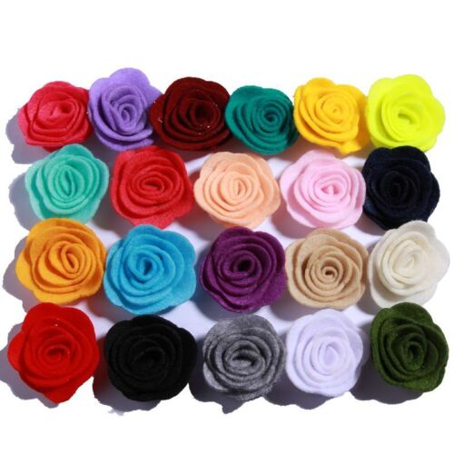30PCS 4CM Nonwovens Material Fabric Flower Felt Rose Flowers For Apparel