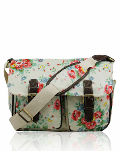 UK Ladies School Bag Cross Body Shoulder Bag Water proof Girls Satchel Flower
