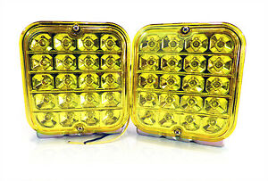 2x-Universal-12V-1-Function-LED-12V-4-in-Square-Turn-SIgnal-Truck-Yellow-Amber