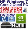 Windows 7 HP Core 2 Quad Desktop PC Computer - 4GB DDR3 - 320GB HDD - Wi-Fi HDMi