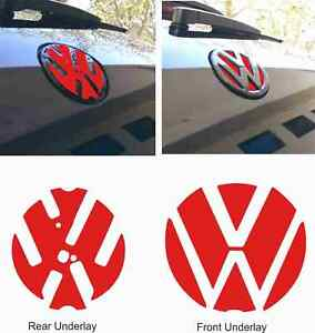 VW-Golf-R-GTI-GTD-MK7-Badge-front-rear-underlay-Stickers-Decals-any-colour-X4