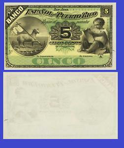 Reproduction Puerto Rico 5 pesos 1889 UNC