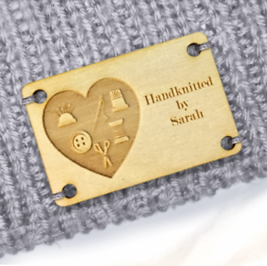 Personalised Large Tags Wooden Handmade Products 60x40mm Knitted Heart Icon